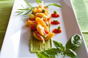 Torchietti fave e pecorino con gazpacho di peperone