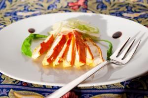 Insalatina di ovoli con acet-up di Paltrinieri e il Tragugnano di Mottura